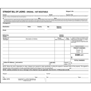 Straight Bill Of Lading - Short Form - Padded, 3-Ply with Carbon