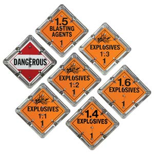 Aluminum Flip Placard - 7 Legend, Worded, Explosives
