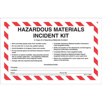 Hazardous Materials Incident Kit in Envelope - No Camera