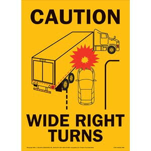 Caution Wide Turns Sign with Icon