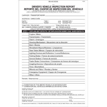 Simplified Driver's Vehicle Inspection Report, Bilingual - Vertical Format - Stock