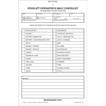 Forklift Operator Daily Checklist  Book Format Carbonless