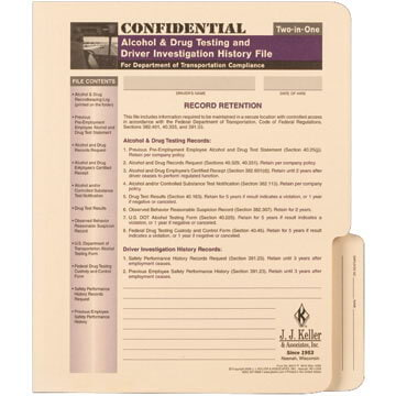 Confidential Alcohol & Drug and Driver Investigation History File Folder