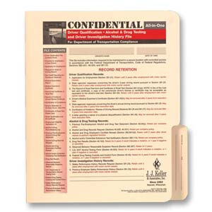 Confidential All-In-One Driver Qualification File Folder - For Snap-Out Forms