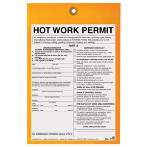Hot Work Permit Tag: 1-Hour Fire Watch