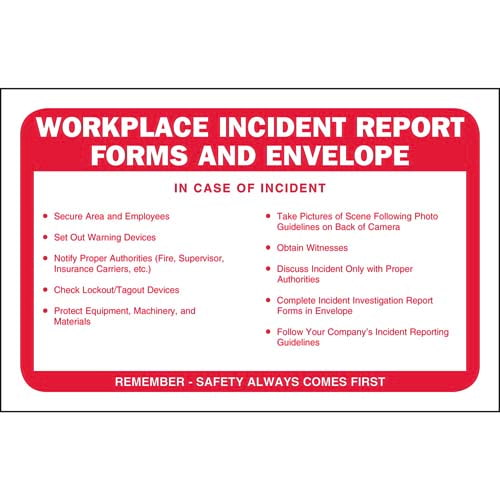 Workplace Incident Report Forms Packet – Incident Report