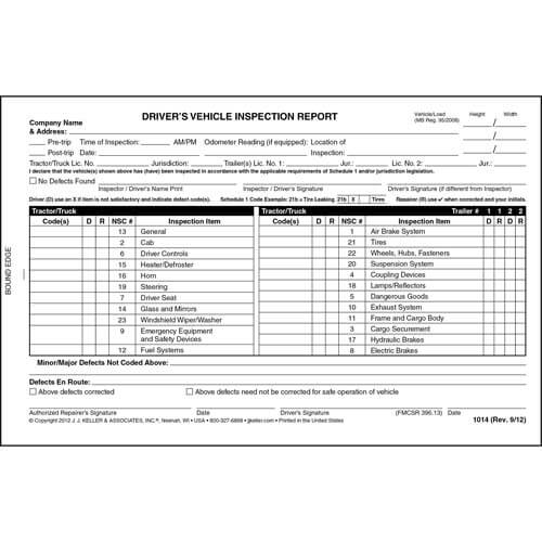 canadian driver u0026 39 s vehicle inspection report  2