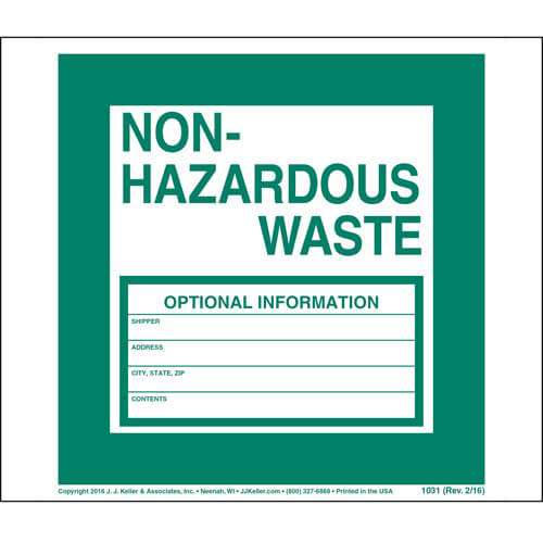 Non-Hazardous Waste Labels (00087)