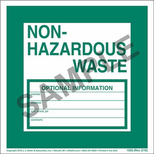 Non-Hazardous Waste Label - Paper, Individual Sheet (00089)