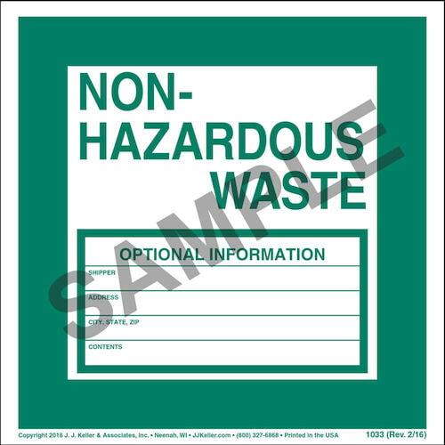 Non-Hazardous Waste Label - Vinyl, Individual Sheet (00088)