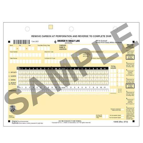 Scannable Driver's Daily Log, 2-Ply, w/Carbon, w/Recap & Detailed DVIR - Stock (04212)