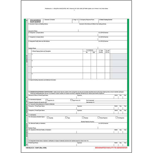 Non-Hazardous Waste Manifest - Snap-Out Format, 6-Ply (00540)
