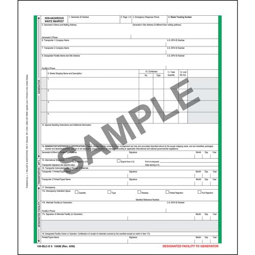 Non-Hazardous Waste Manifest - Pin-Feed Format, 6-Ply (00536)