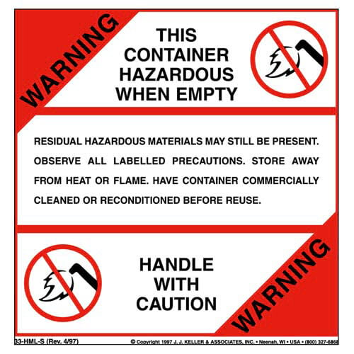 Warning - This Container Hazardous When Empty Package Marking (01732)