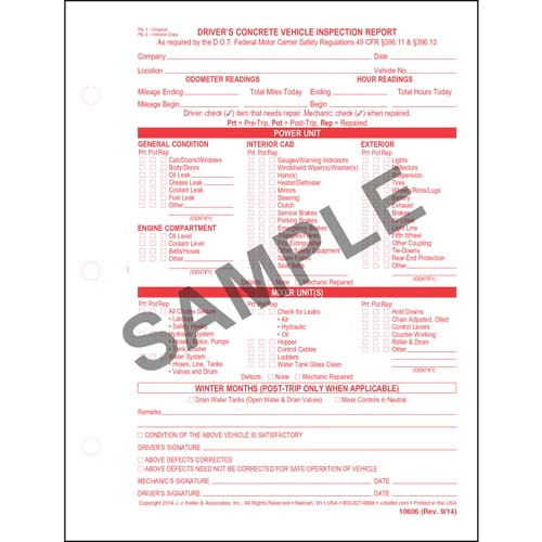 Driver's Concrete Vehicle Inspection Report, Snap-Out Format - Stock (00520)
