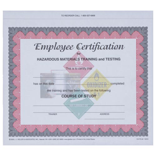 Hazmat Employee Training Certificate (00169)
