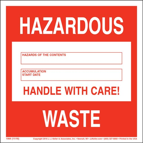 Hazardous Waste 90-Day Accumulation Labels (00091)