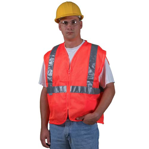 GloWear® Type R Class 2 Safety Vest - Mesh, Zipper Closure, 1 Pocket (00761)