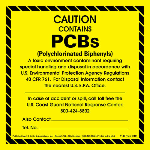 Caution - Contains PCBs Package Marking (00095)