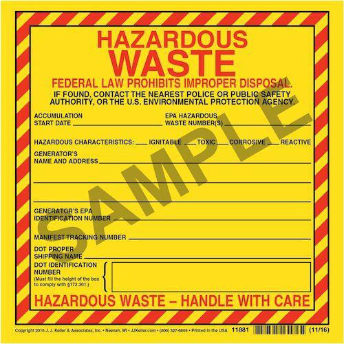 hazardous waste label vinyl individual sheet 00462 - Hazardous Waste Labels
