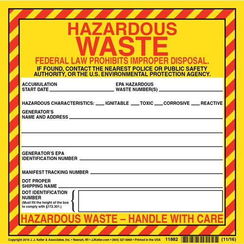 Hazardous Waste Label - Vinyl, Continuous Format (00457)