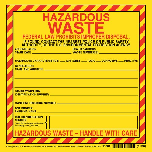 Hazardous Waste Label - Vinyl, Individual Sheet (00464)
