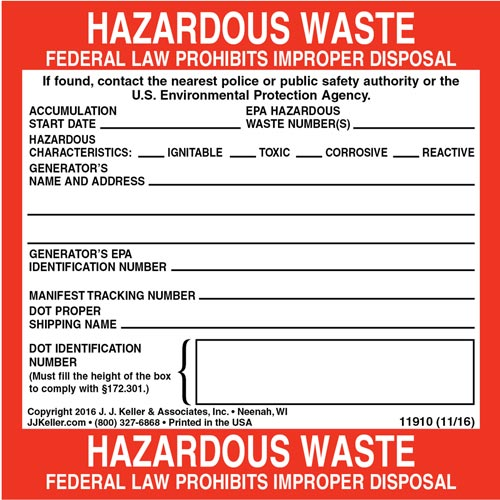 Hazardous Waste Label - Paper (03140)