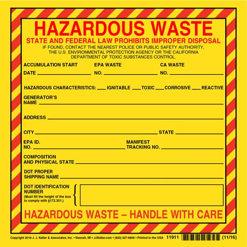 California Hazardous Waste Label - Vinyl, Individual Sheet (00620)