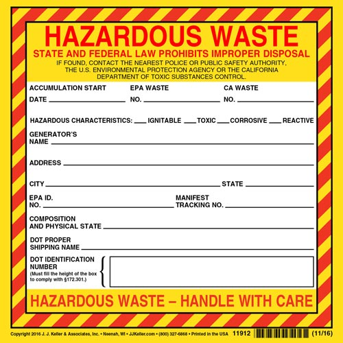 California Hazardous Waste Label - Vinyl, Continuous Format (00618)