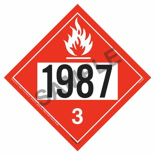 1987 Placard - Class 3 Flammable Liquid (02236)
