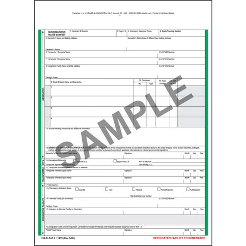 Non-Hazardous Waste Manifest - Snap-Out Format, 5-Ply (00538)