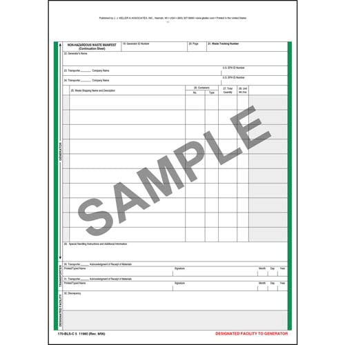 Non-Hazardous Waste Manifest Continuation Sheet - Snap-Out Format, 5-Ply (00549)