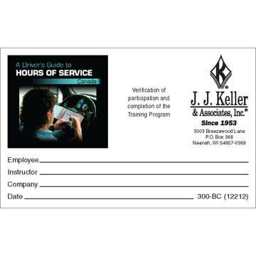 Hours of Service Canada: A Driver's Guide - Wallet Cards (00714)