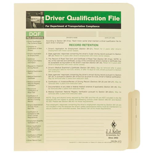 Driver Qualification File Folder - For Single-Copy Forms (00100)