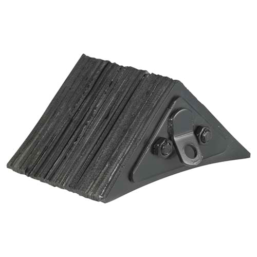 Black Laminated Rubber Wheel Chock w/Steel Clip (02012)