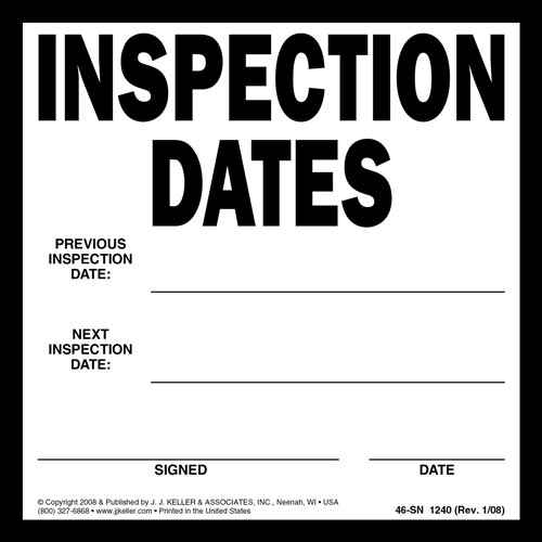 Inspection Dates Label (01592)