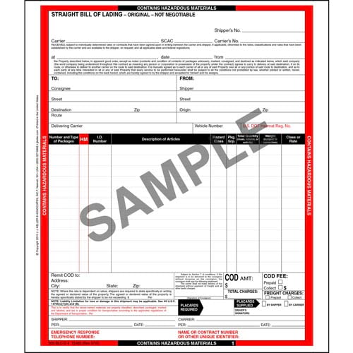 Hazardous Materials Straight Bill of Lading - 12 Entry Lines - Continuous, 4-Ply, Carbonless (00616)