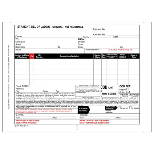 """Straight Bill of Lading - Continuous, 3-Ply, Carbonless, 9-1/2"""" x 7"""" (02031)"""