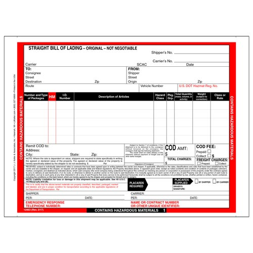 Hazardous Materials Straight Bill of Lading - 5 Entry Lines - Continuous, 4-Ply w/ Carbon (00589)