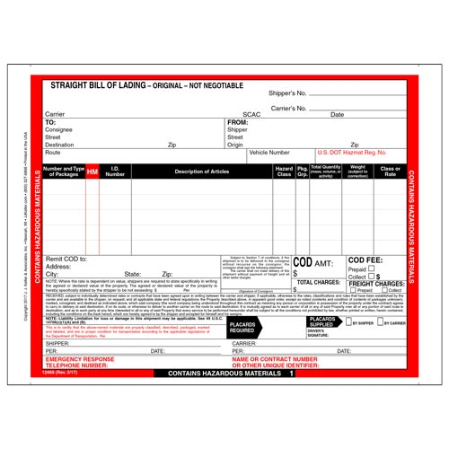 Hazardous Materials Straight Bill of Lading - 5 Entry Lines - Continuous, 3-Ply w/ Carbon (00587)