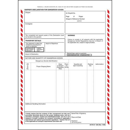 Shipper's Declaration For Dangerous Goods - 3-Ply w/ Carbon (00104)