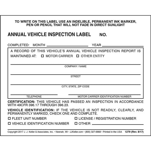 Annual Vehicle Inspection Label - Vinyl w/ Mylar Laminate (00237)