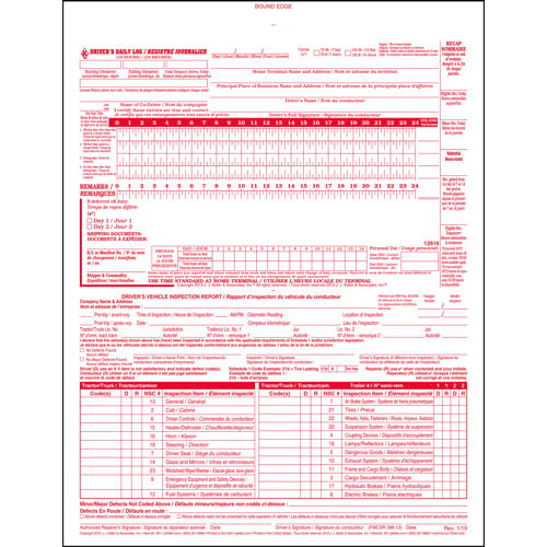 Canadian 2-In-1 Driver's Daily Log Book, Bilingual, 2-Ply, Carbonless - Stock (02749)