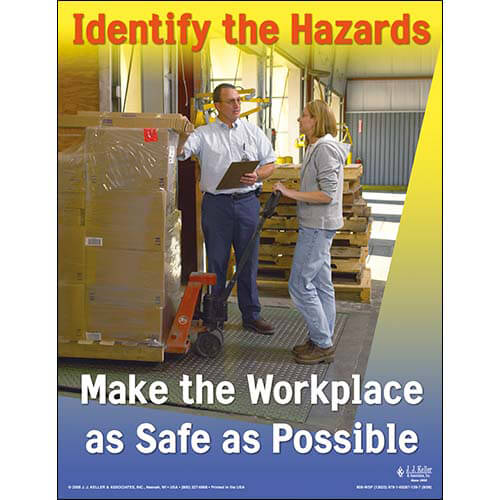 "General Safety - Workplace Safety Awareness Poster - ""Identify the Hazards"" (02179)"