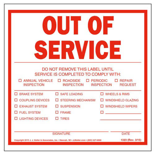 Out of Service Trailer Label (01849)