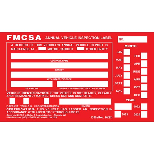 Annual Vehicle Inspection Label - Aluminum w/ Punch Boxes (00241)