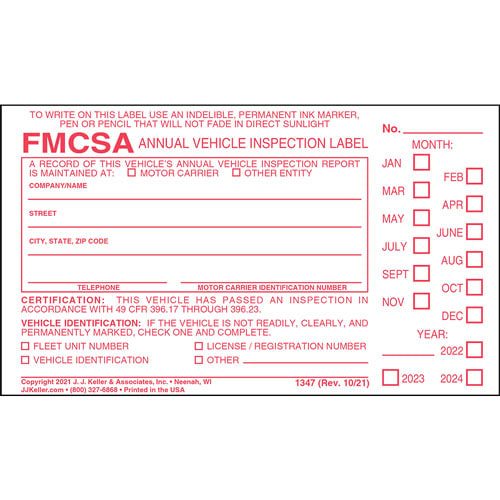 Annual Vehicle Inspection Label - Vinyl w/ Punch Boxes (00245)