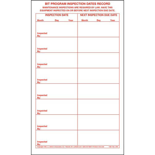 BIT Program Inspection Dates Record Label (00110)