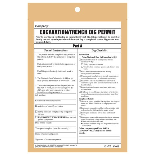 Excavation Trench Dig Permit