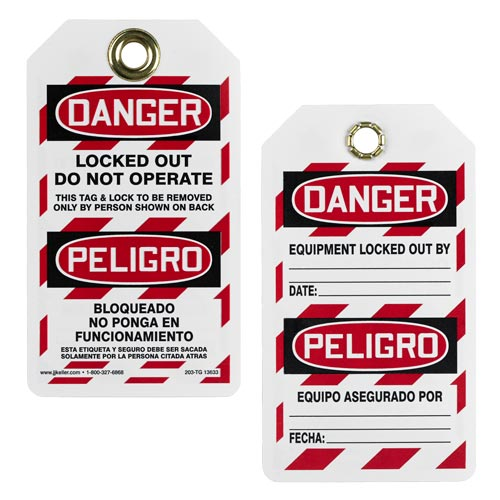 Bilingual Lockout/Tagout Tag - Danger Locked Out, Do Not Operate (00668)